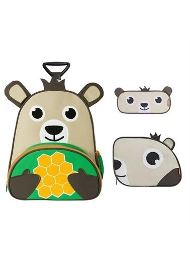 Zoozy Ayı Çekçekli Çanta Seti (Çekçekli Sırt Çanta-Beslenme Çantası-Kalemlik) Renkli
